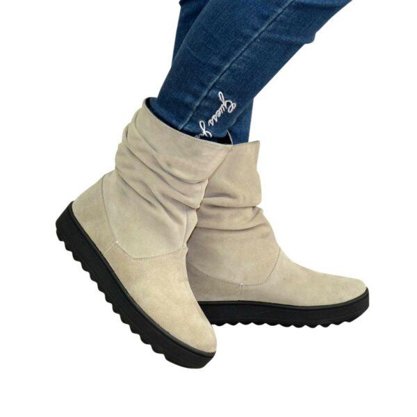 Ботинки женские замшевые демисезонные свободного одевания, на утолщенной подошве