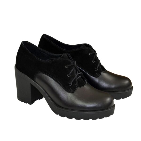 Туфли женские комбинированные на устойчивом каблуке, на шнуровке