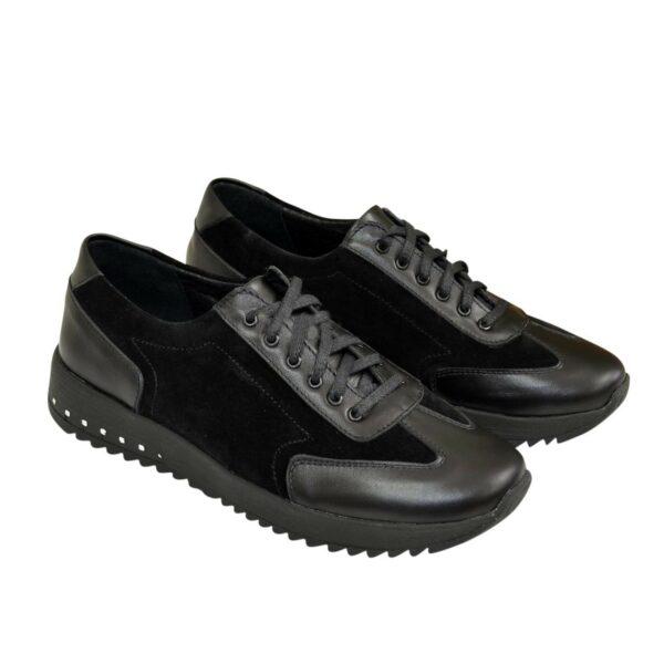 Туфли-кроссовки женские на утолщенной подошве, из натуральной кожи и замши черного цвета