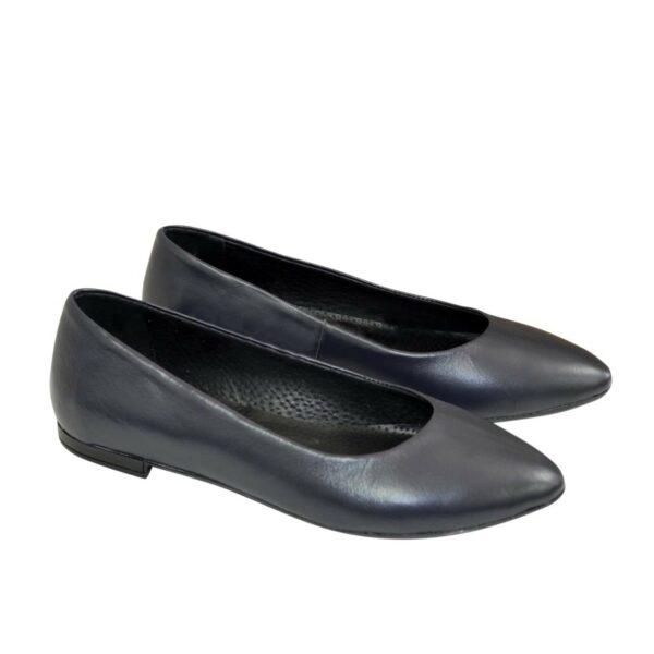 Женские кожаные туфли-балетки с заостренным носком, цвет синий