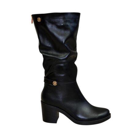 Сапоги женские зима осень кожаные черные на устойчивом каблуке