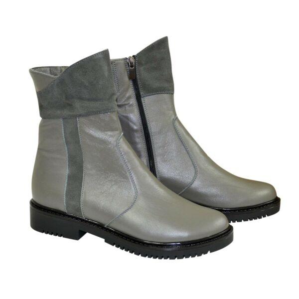 Ботинки женские зимние из натуральной кожи и замши серого цвета