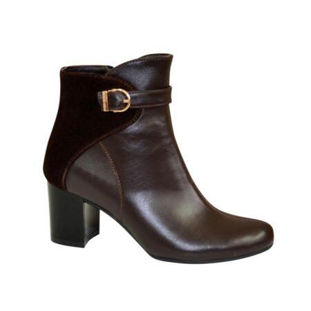 ботинки женские зима осень на невысоком каблуке из натуральной кожи комбинированы замшем коричневого цвета