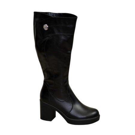 Женские кожаные черные сапоги зима осень, на высоком устойчивом каблуке