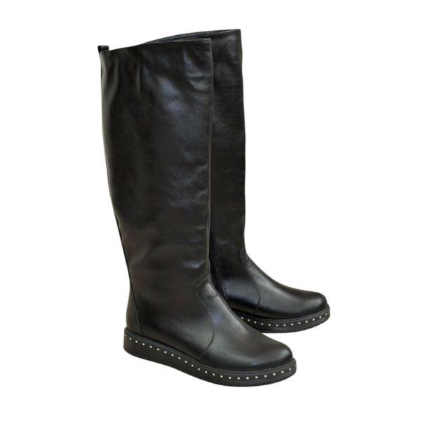 Сапоги-трубы демисезонные кожаные на утолщенной подошве, цвет черный
