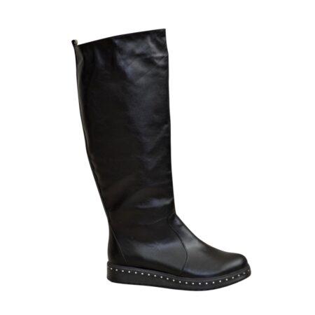 Сапоги-трубы зима осень кожаные на утолщенной плоской подошве, цвет черный