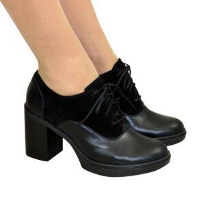 Женские туфли на широком каблуке натуральная кожа и замша черного цвета