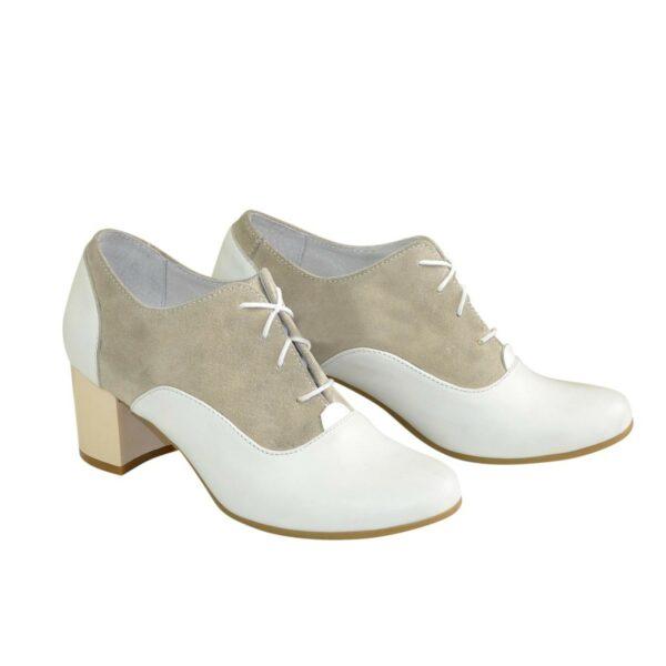 Туфли женские на устойчивом каблуке, натуральная кожа и замша