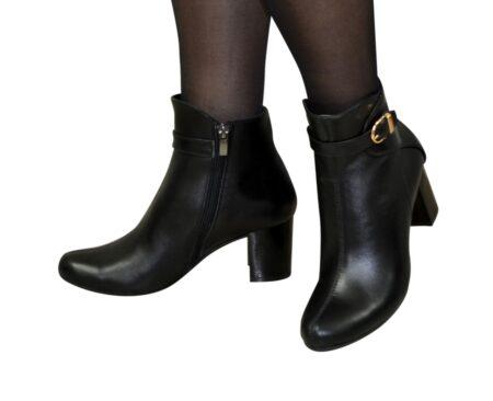 кожаные зима осень женские ботинки на устойчивом широком каблуке, цвет черный