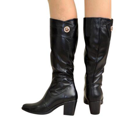 Женские черные кожаные сапоги на устойчивом каблуке, осень зима