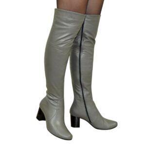 Ботфорты кожаные осень зима на устойчивом каблуке, серый цвет