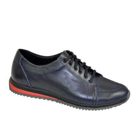Мужские кожаные кроссовки на шнуровке, цвет синий