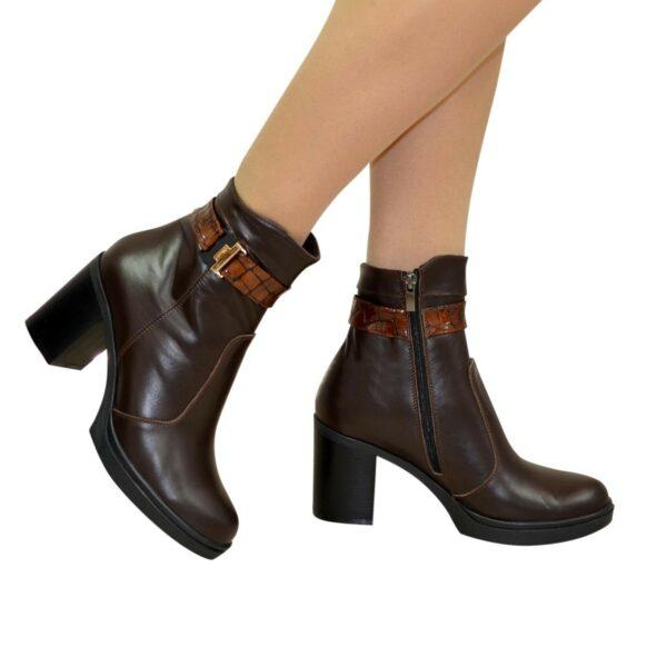 Полуботинки женские кожаные демисезонные на устойчивом каблуке, цвет коричневый
