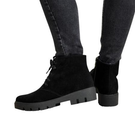 Ботинки женские замшевые на шнуровке осень зима, тракторная подошва