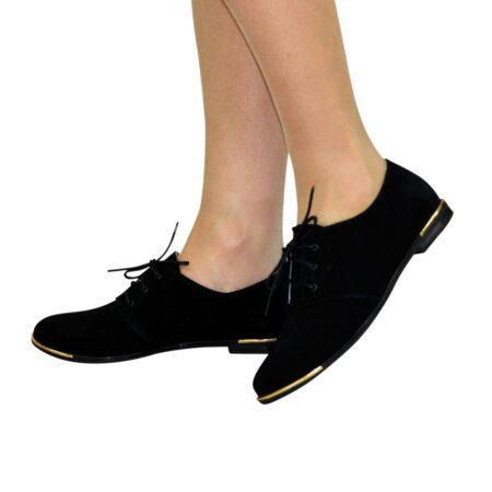 Туфли женские низкий ход, замшевые черного цвета, на шнуровке