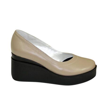 Туфли-лодочки женские на широкой устойчивой танкетке кожаные цвет визон