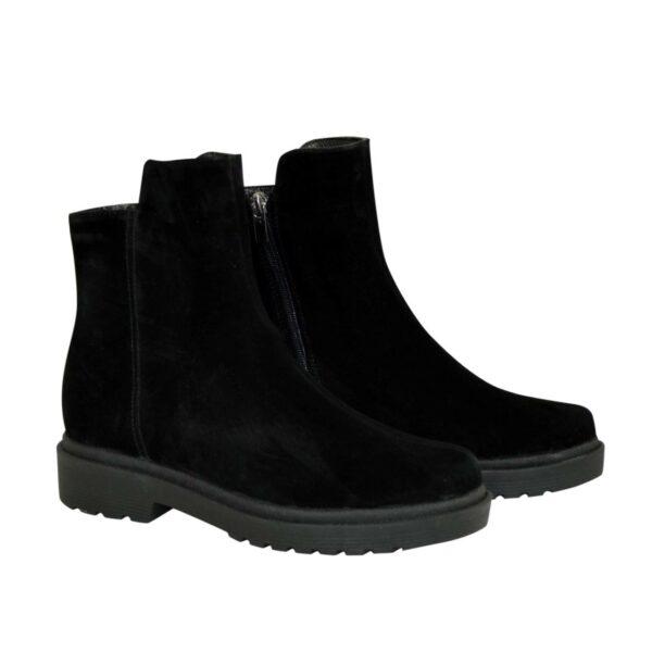 Ботинки женские замшевые демисезонные на маленьком каблуке, цвет черный