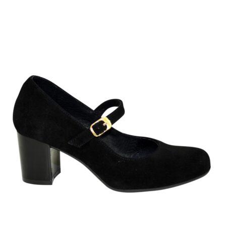 Женские туфли из натурального замша черного цвета на широком устойчивом каблуке