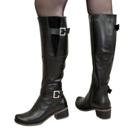 Сапоги ботфорты женские кожаные черные на широком устойчивом каблуке, осень зима