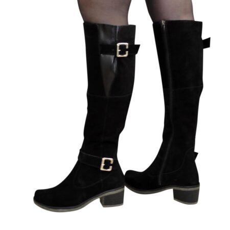 Сапоги ботфорты женские замшевые черные, на небольшом каблуке