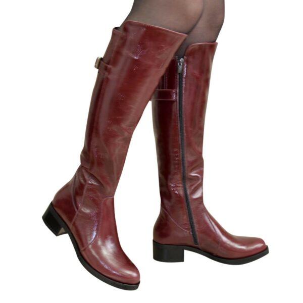 Сапоги женские зимние кожаные на невысоком устойчивом каблуке, цвет бордо