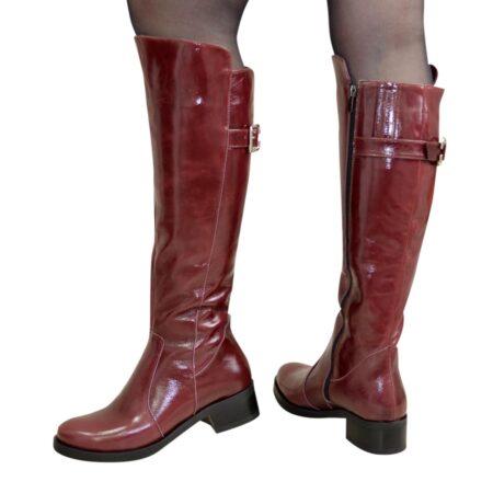 Сапоги женские зима осень кожаные на невысоком устойчивом каблуке, цвет бордо