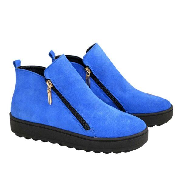 Ботинки женские зимние замшевые на утолщенной подошве, цвет электрик