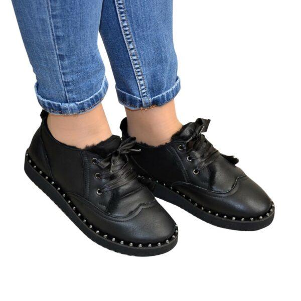 Угги укороченные женские на шнуровке, из натуральной дубленки черного цвета