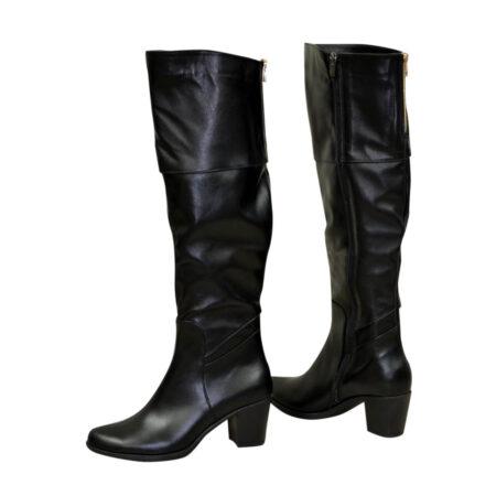 Ботфорты  зима осень кожаные черные на каблуке