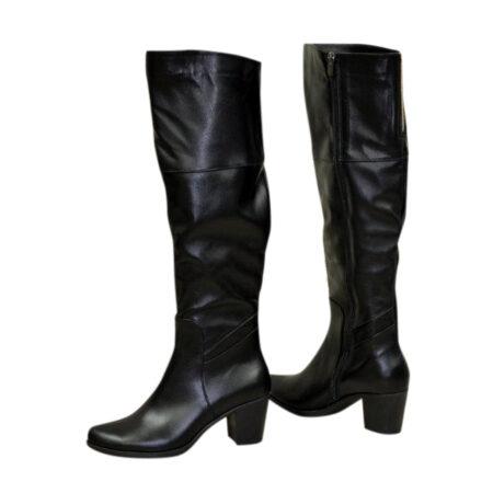 Ботфорты черные кожаные осень зима, на устойчивом каблуке