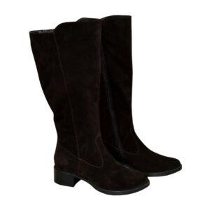 Сапоги женские замшевые коричневые  с широким голенищем-баталы, на невысоком каблуке каблуке