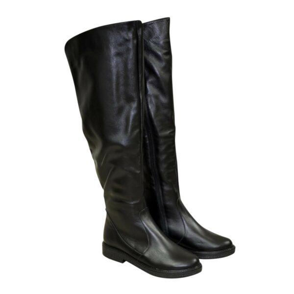 Ботфорты зимние женские черные кожаные на низком ходу