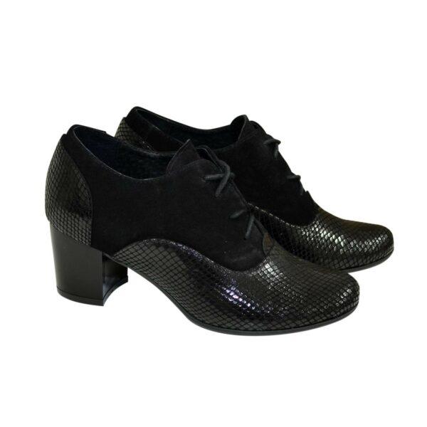 Туфли женские на устойчивом каблуке, натуральная замша