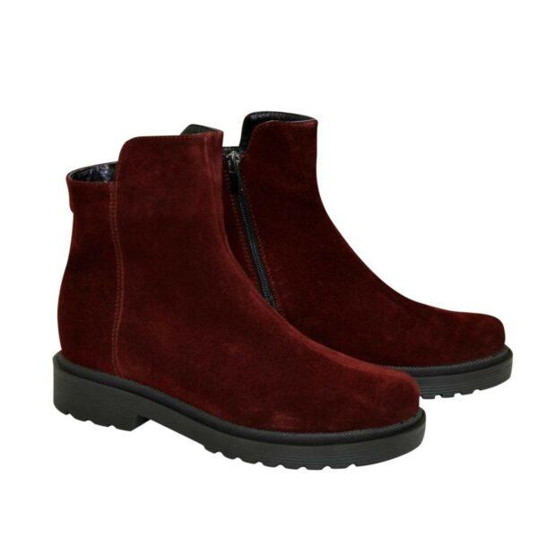 Ботинки женские замшевые зимние на маленьком каблуке, цвет бордо