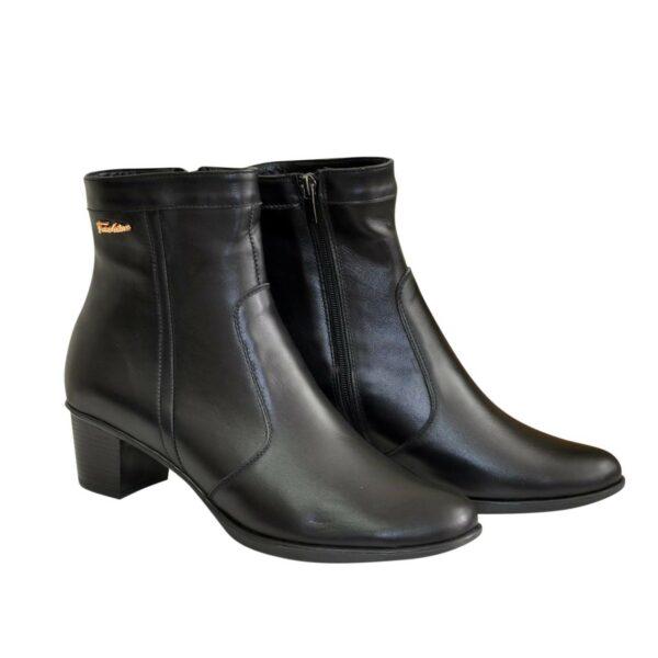 Ботинки женские зимние черные на невысоком каблуке, натуральная кожа