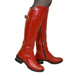 Красные кожаные сапоги-ботфорты женские осень зима, на невысоком устойчивом каблуке