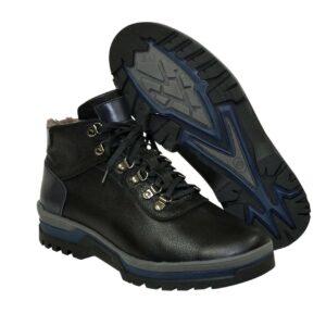 Ботинки мужские кожаные черно-синие на цигейке