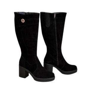 Сапоги женские черные замшевые на широком устойчивом каблуке