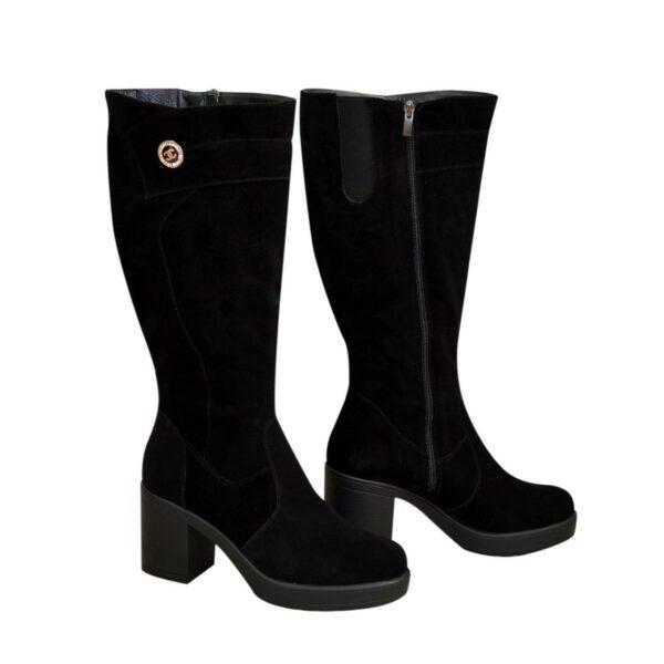 Сапоги женские черные замшевые на устойчивом каблуке