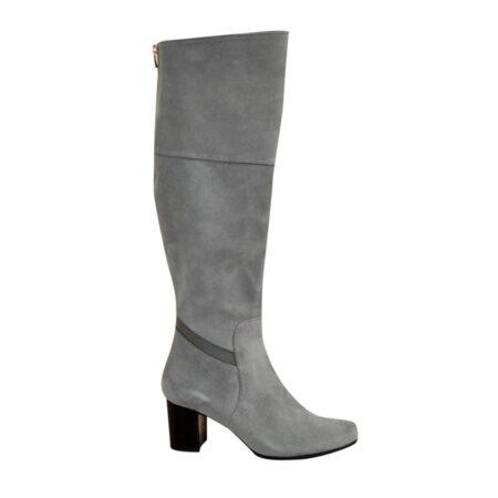 Ботфорты замшевые осень зима на устойчивом каблуке, цвет серый