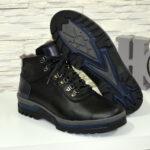 Ботинки мужские на шнуровке, натуральная черная кожа со вставками синей кожи