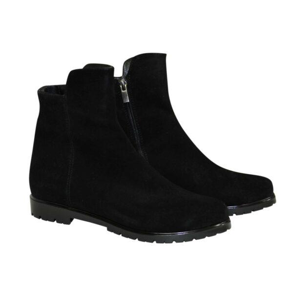 Ботинки черные женские замшевые демисезонные на низком ходу
