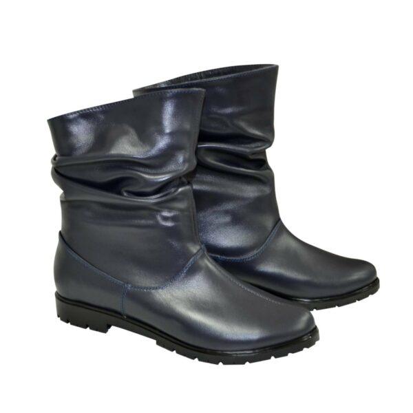 Женские кожаные демисезонные ботинки свободного одевания, цвет синий