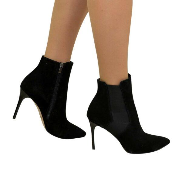 Ботинки замшевые женские демисезонные на шпильке