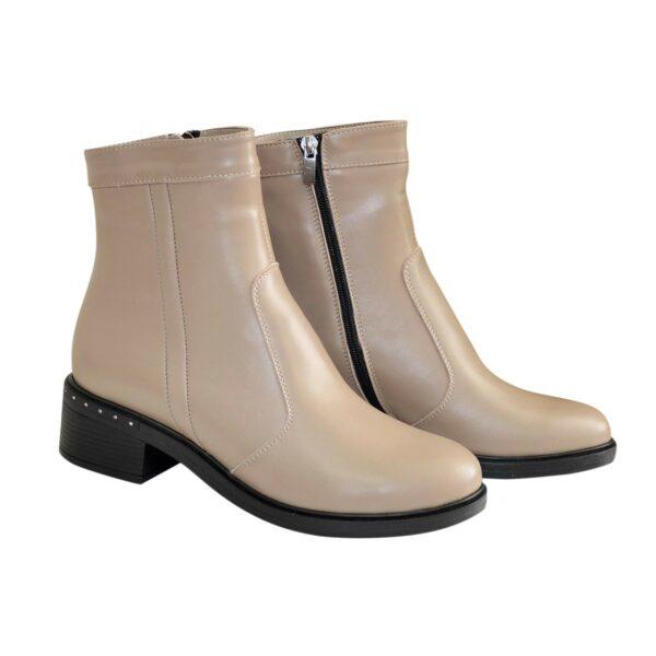 Ботинки кожаные демисезонные на невысоком каблуке, цвет визон