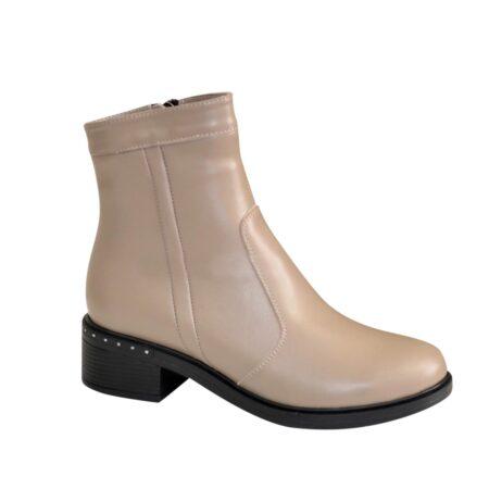 Ботинки кожаные женские на удобном невысоком каблуке, цвет визон