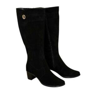 Женские классические замшевые черные сапоги на невысоком каблуке, зима осень