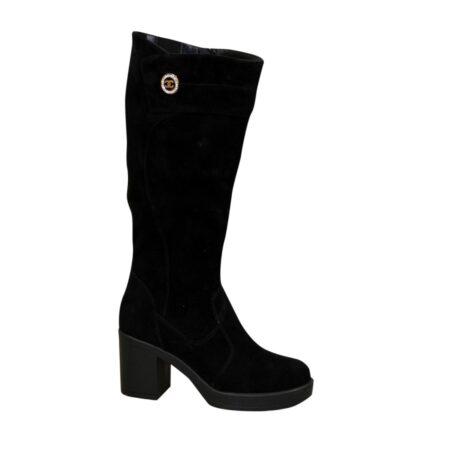 Женские сапоги с широким голенищем-баталы черные замшевые , на высоком устойчивом каблуке