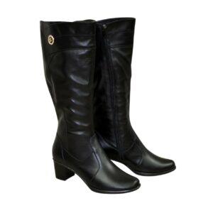 Женские классические черные кожаные сапоги на невысоком каблуке, зима осень