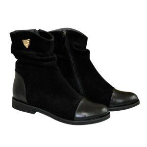 Ботинки женские черные осень зима из натуральной кожи и замши, на низком ходу